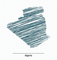 Doodle sketch of Algeria map vector image vector image