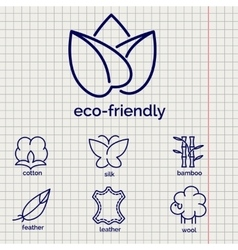 Eco-friendly fabric feature icons vector