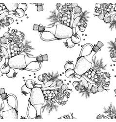 Seamless pattern of still life with vegetables vector image