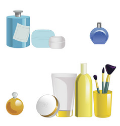 set of face care products isolated on white vector image