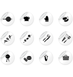 Stickers with grilling icons vector image