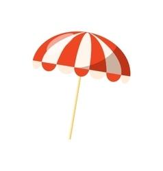 Striped beach umbrella icon cartoon style vector image vector image