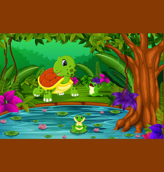 Turtle and frog in the jungle with lake scene vector