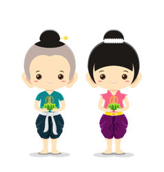 Boy and Girl in Loy Krathong Festival vector image