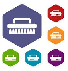 Cleaning brush icons set hexagon vector