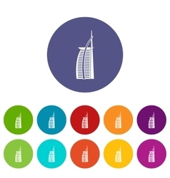 Hotel Burj Al Arab set icons vector image