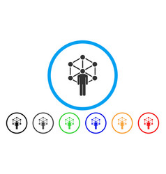 human network rounded icon vector image vector image
