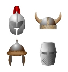 Set of medieval viking knight horned coppergate vector image