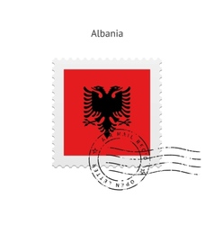 Albania Flag Postage Stamp vector image