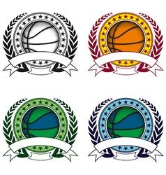 basketball emblem 4 vector image vector image