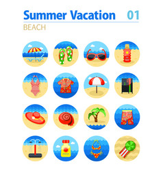 beach icon set summer vacation vector image