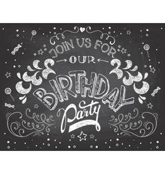 Birthday party invitation on chalkboard vector
