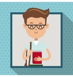 boy with glasses book student frame dot shadow vector image