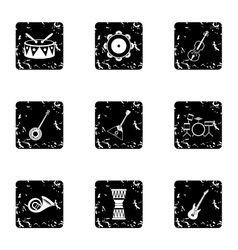 Device for music icons set grunge style vector image vector image