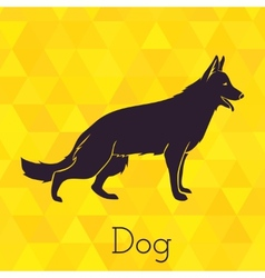 Dog silhouette on triangles background vector image