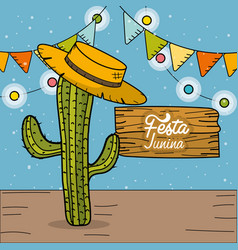 festa junina with cactus and hat decorative design vector image