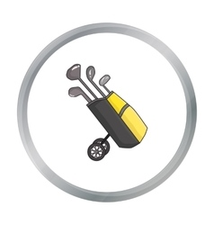 Golf bag on wheels with clubs icon in cartoon vector
