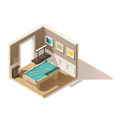 isometric low poly pool room vector image vector image