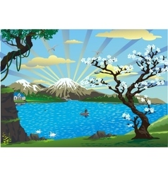 landscape-cherry blossoms above the lake vector image