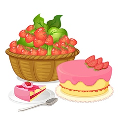 A basket of strawberries and a strawberry flavored vector