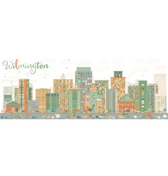 Abstract Wilmington Skyline with Color Buildings vector image