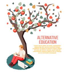 Alternative education isometric composition vector