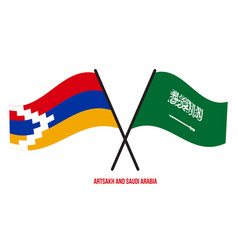 Artsakh and saudi arabia flags crossed and waving vector