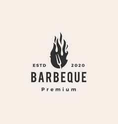 barbeque fork fire hipster vintage logo icon vector image