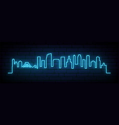 blue neon skyline brooklyn new york city vector image