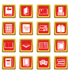 Books icons set red vector