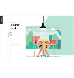 Business series - error 404 web template vector