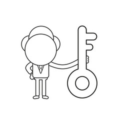businessman character holding key black outline vector image