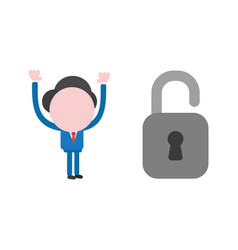 businessman character with open padlock vector image