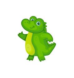 Cartoon bacrocodile smiling and waving - cute vector