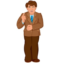 Cartoon man in brown jacket and brown pants holds vector image