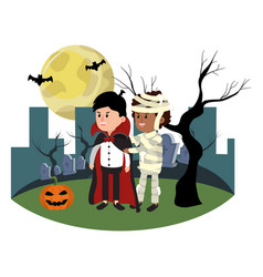 Children with funny costumes and tree branches vector