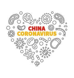 china coronavirus concept linear heart vector image