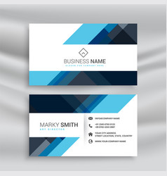 Clean abstract blue business card design vector