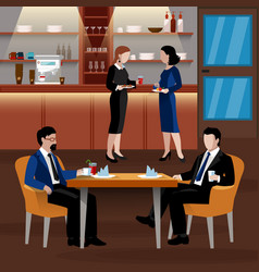 Colored business lunch people composition vector
