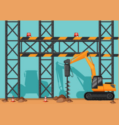 construction site with drill digging hole vector image