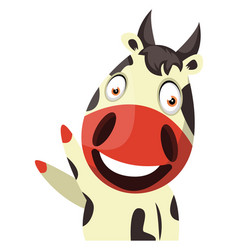 cow cheerfully waving on white background vector image