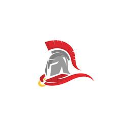 Creative warrior helmet logo vector