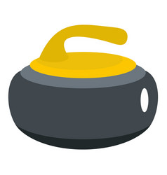 Curling stone with yellow handle icon isolated vector