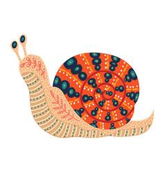 cute folk snail isolated on vector image