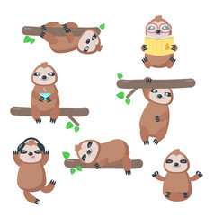 cute sloth icon set isolated vector image