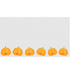 Cute smiling pumpkins in paper cut style on on vector