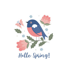 cute spring bird isolated on white background vector image