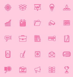 Data and information pink line icons vector image