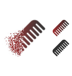 Dissolved pixel halftone comb icon vector