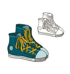 Drawing sneakers vector